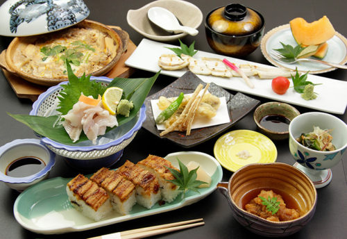 Dishes made of Miyajima's noted product, conger